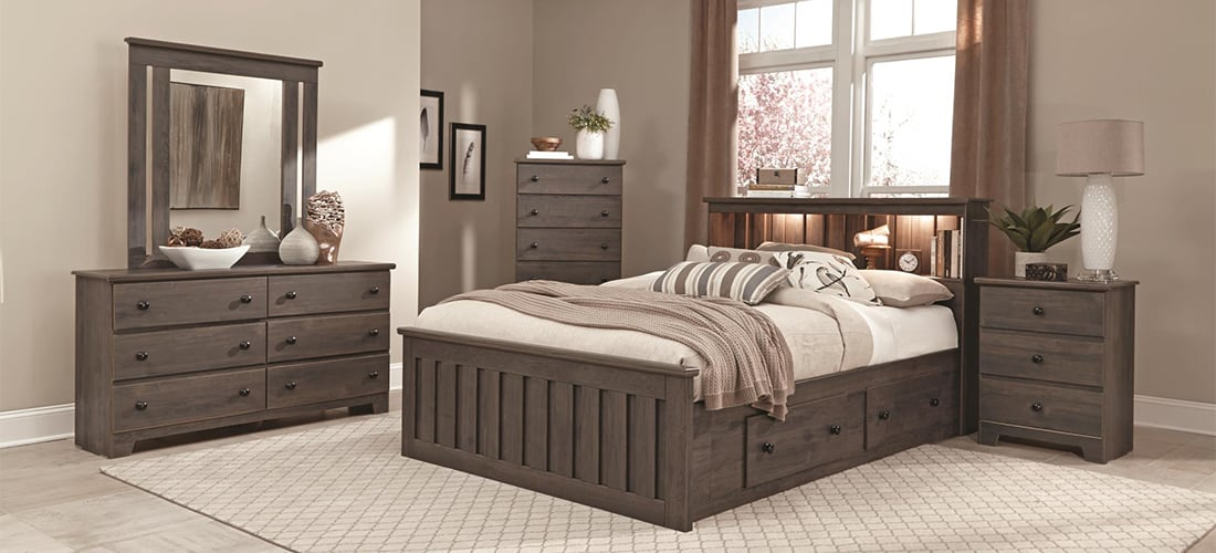 Classic Dark Gray Oak Bedroom Furniture Lang Furniture Shaker
